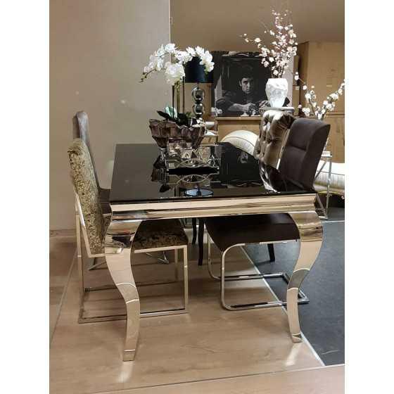 Eettafel Polo 180x90x75cm met Zilver Chromen Barok Queen Ann Poten
