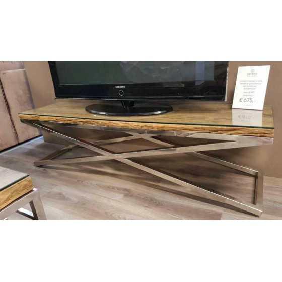 Railway wagonhout Tv meubel x-legs 160x40 inclusief glasplaat