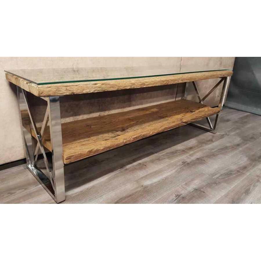 Railway wagonhout Tv meubel 160x40 inclusief glasplaat