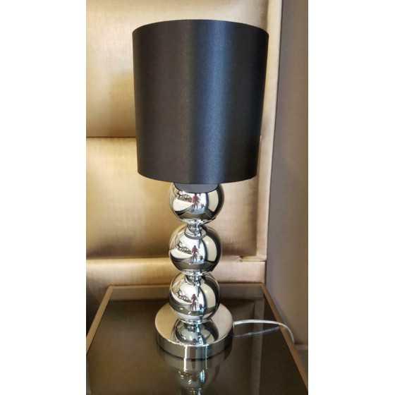 Bollenlamp zilver met zwarte kap 52cm