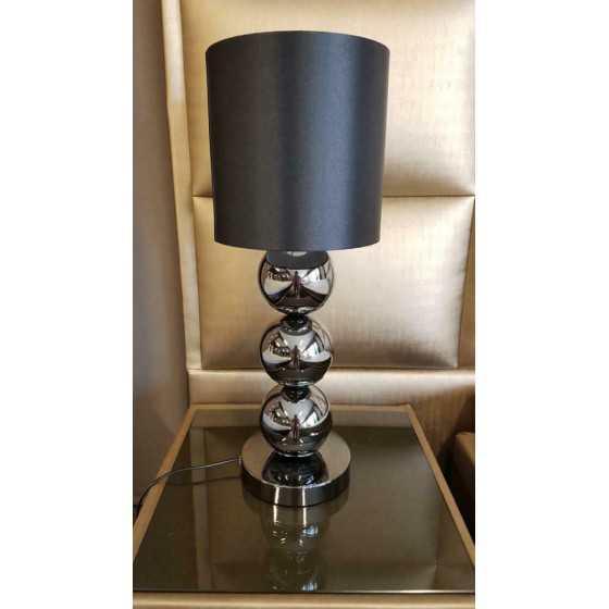 Bollenlamp zwart met zwarte kap 52cm