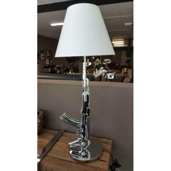 AK47 Tafellamp Zilver met Witte Kap 100cm