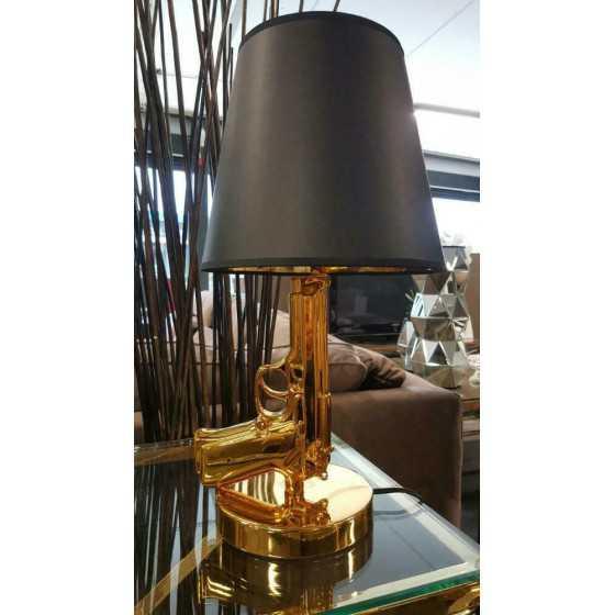 Beretta 9mm Tafellamp Goud met Zwarte Kap