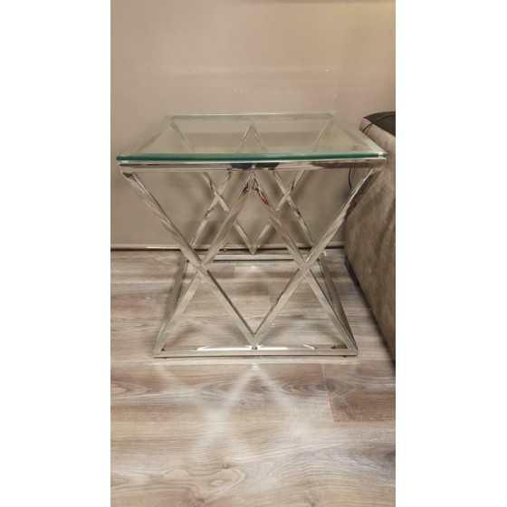 Jaxx bijzettafel 55x55x55 inclusief glasplaat zilver