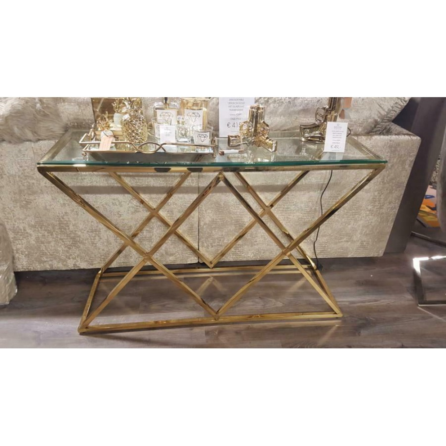 Sidetable Met Glasplaat.Gouden Sidetable Model Jaxx Eric Kuster Stijl