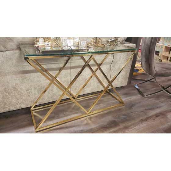 Sidetable Goud Model Jaxx transparante glasplaat