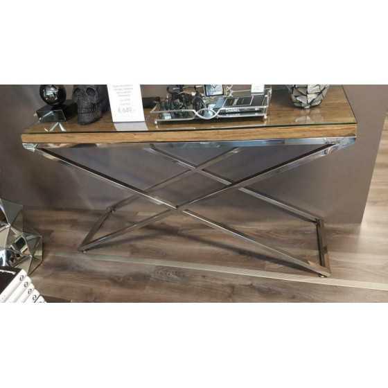 Railway Wagonhout Sidetable met Chromen Onderstel inclusief glasplaat 140x40x76cm