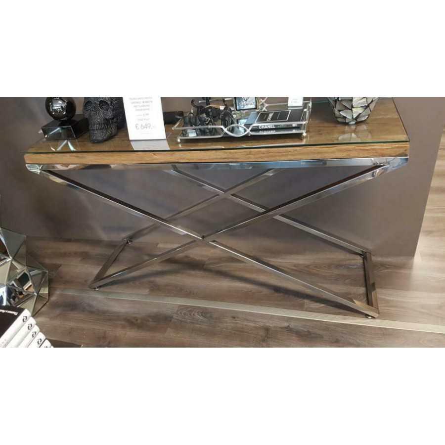 Sidetable Met Glasplaat.Railway Wagonhout Sidetable Met Zilveren Poten 140x40cm