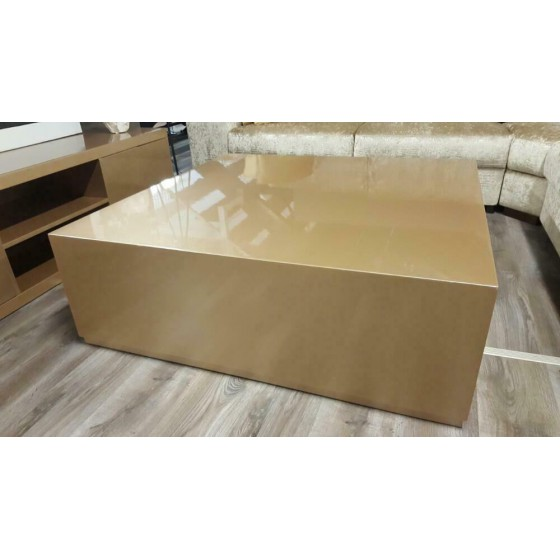 Hoogglans metallic blok salontafel 100x100 Brons