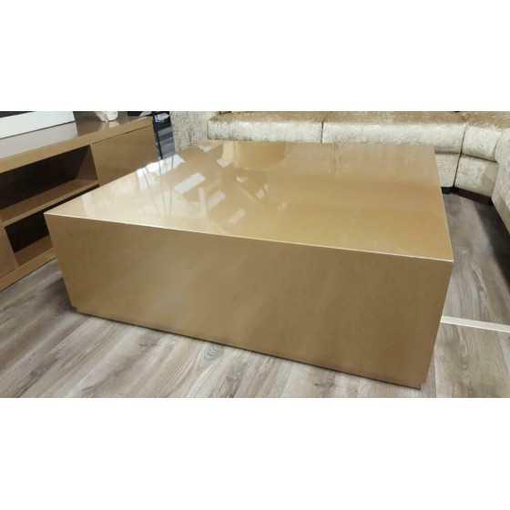 Hoogglans metallic blok salontafel 120x120 Brons