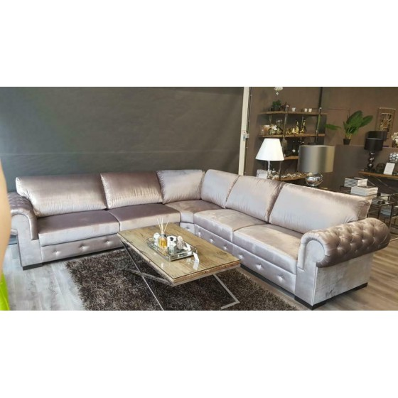 HOEKBANK | BANKSTEL | LOUNGEBANK | MODEL CHESTERFIELD | SILVER VELOURS