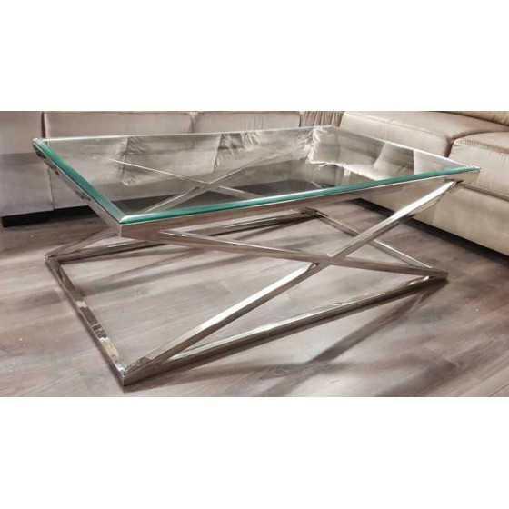 Salontafel x-legs zilver met glasplaat 130x70