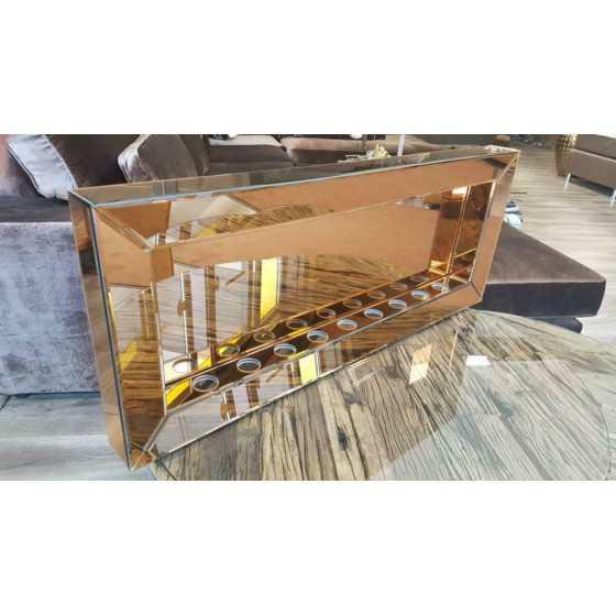 Sfeerhaard Waxine 9-Lichten Spiegel met Spiegellijst Brons 100x40cm | Eric Kuster Stijl