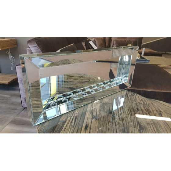 Sfeerhaard Waxine 9-Lichten Spiegel met Spiegellijst Zilver 100x40cm | Eric Kuster Stijl