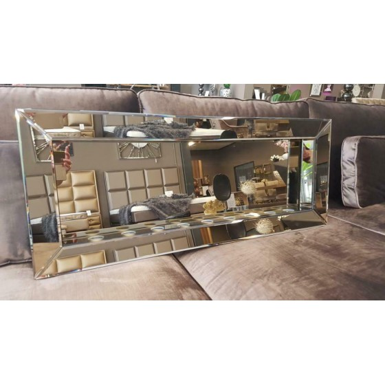 Sfeerhaard Waxine 8-Lichten Spiegel met Spiegellijst Sepia 100x40cm