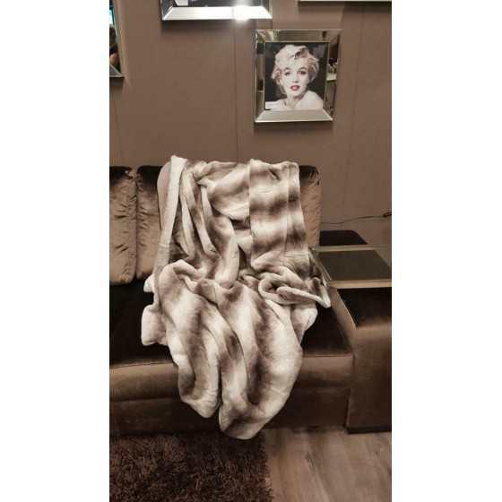 Luxe woondeken plaid bontlook bruin 150x200