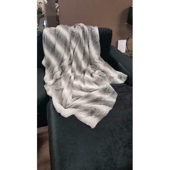 Luxe woondeken plaid bontlook grijs 150x200