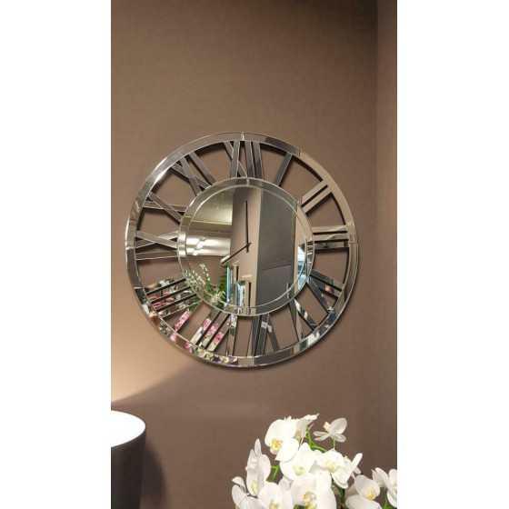 Spiegel klok rond 80cm Zilver