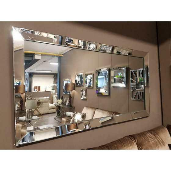Spiegel zilver met spiegel zijkant 220x110|zwarte rand