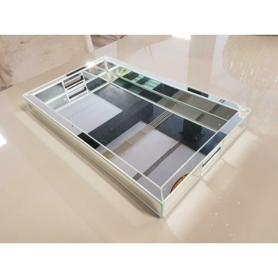 Spiegel dienblad zilver met handvat 50x30