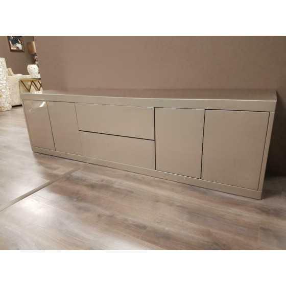 Hoogglans tv meubel metallic zilver met 2 laden 210x50cm