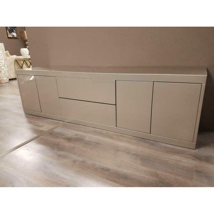 Hoogglans tv meubel metallic zilver met 2 laden 240x50cm
