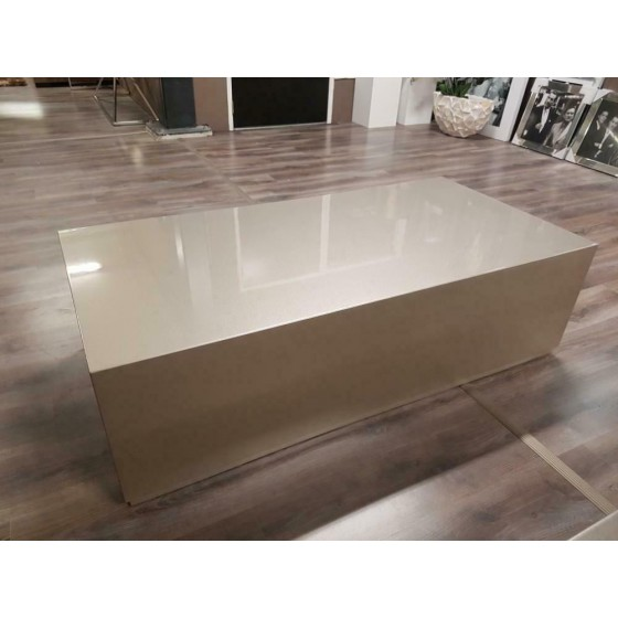 Hoogglans bloktafel salontafel 140x70 zilver metallic