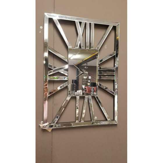 Spiegel klok zilver 50x70