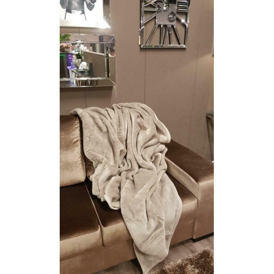Plaid cashmere look taupe 150x200