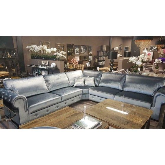 HOEKBANK | BANKSTEL | LOUNGEBANK | MODEL CHESTERFIELD | Silverblue