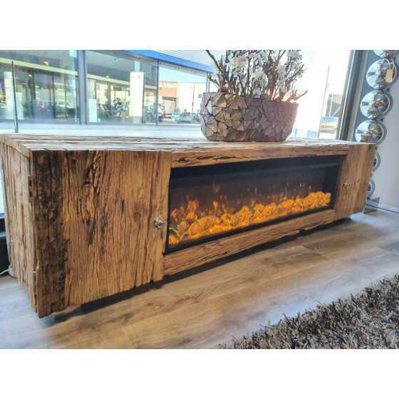 Railway | Wagonhout tv meubel met sfeerhaard 200cm