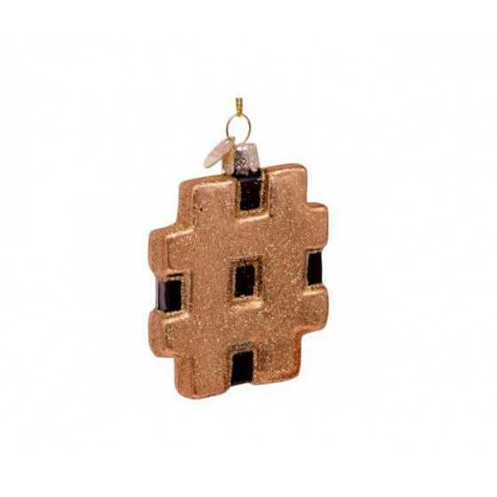 Vondels kerstbal hashtag goud 8 cm