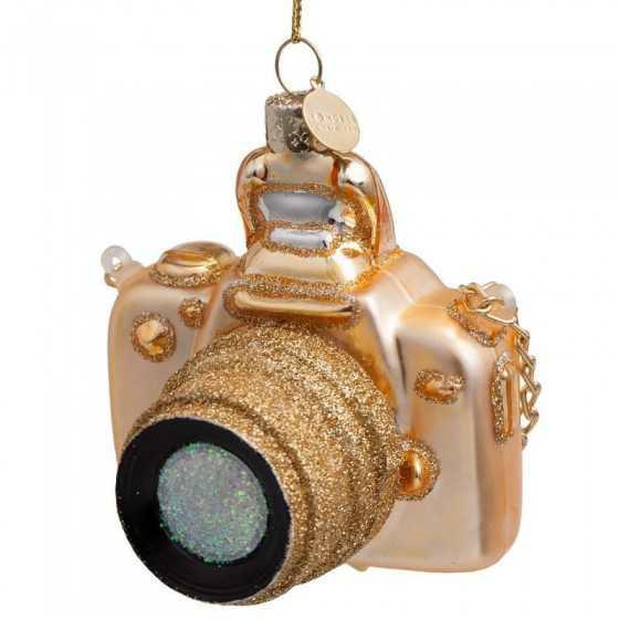 Vondels kerstbal camera goud 9 cm