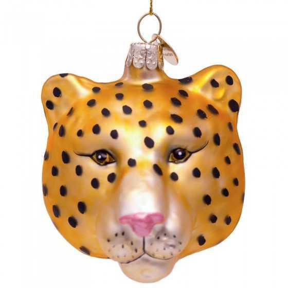 Vondels kerstbal panther head goud 7.5 cm