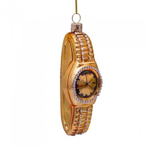 Vondels kerstbal watch diamonds goud 10 cm