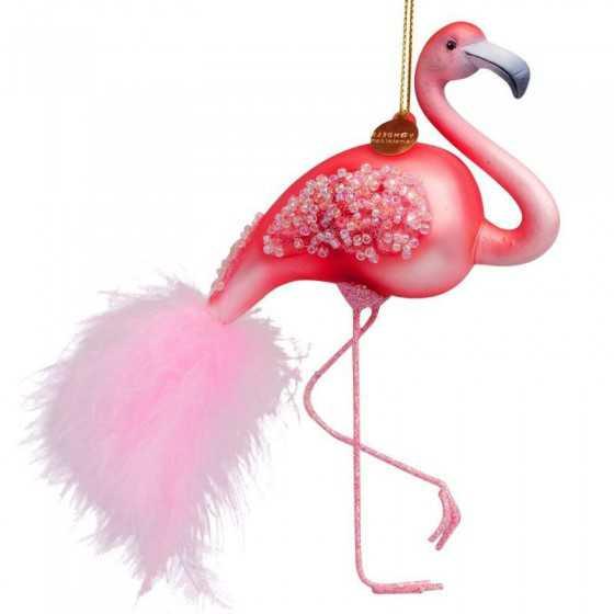 Vondels kerstbal flamingo 15 cm