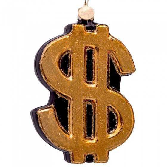 Vondels kerstbal dollar sign goud 10 cm