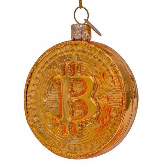 Vondels kerstbal bitcoin goud 7.5 cm