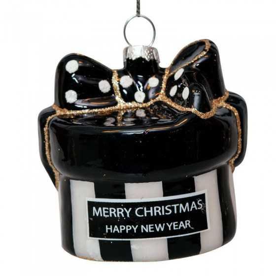 Vondels kerstbal gift box round 8 cm UITVERKOCHT