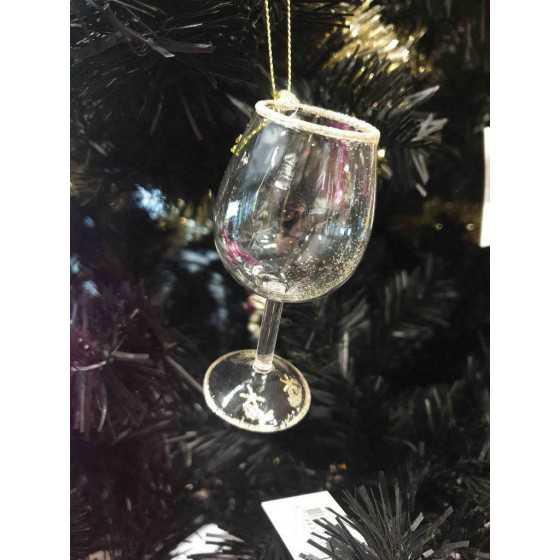 Kerstbal wijnglas 9 cm