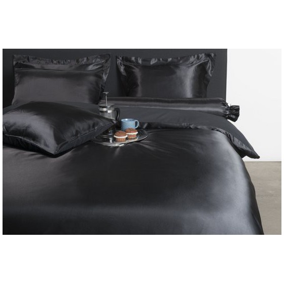 Satijnen Dekbedovertrek zwart lits jumeaux 240x200