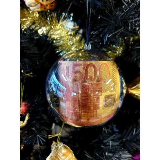 Kerstbal 500 euro biljet 12 cm