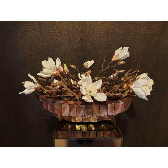 Opgemaakte schelpenvaas kleine boot magnolia