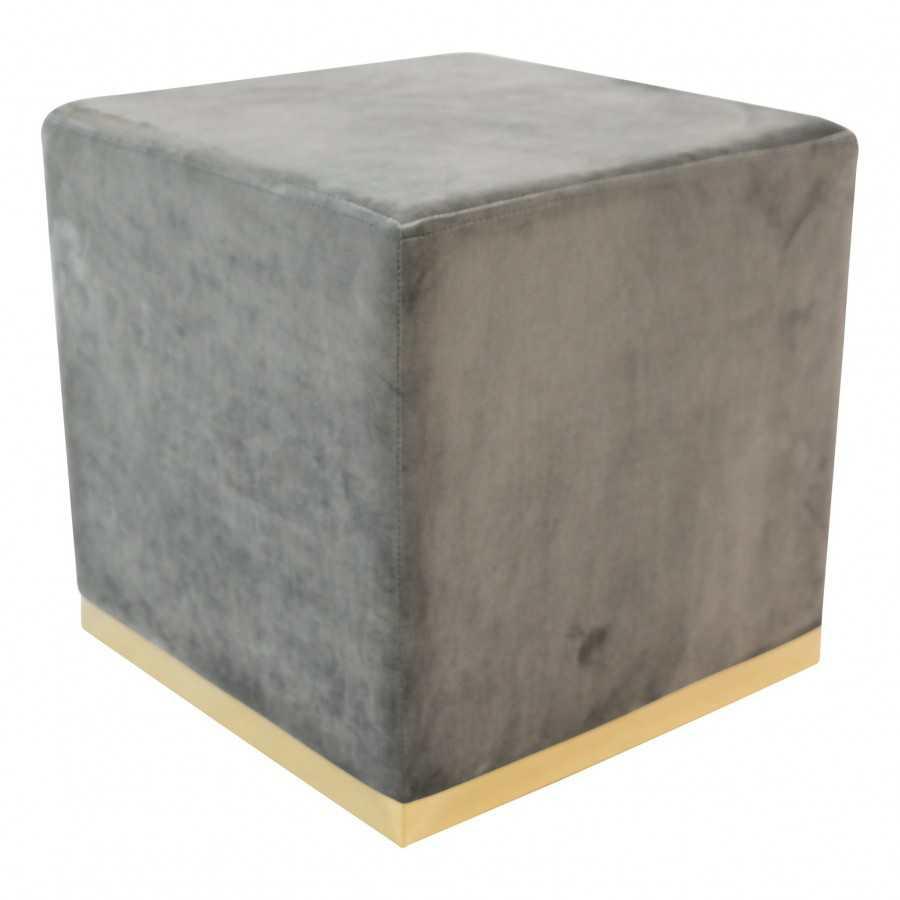 Poef Velvet Grijs Vierkant Zilveren Rand 35 x 35 x 42 cm