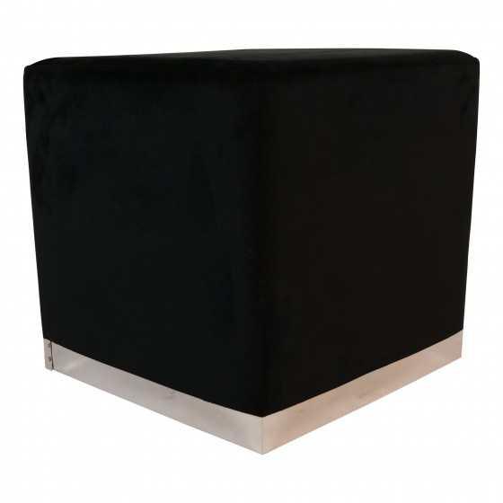 Poef Velvet Zwart Vierkant 35 x 35 x 42 cm