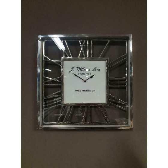 Wandklok zilver vierkant 38x38 cm