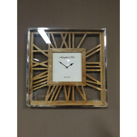 Wandklok zilver vierkant hout 46x46 cm
