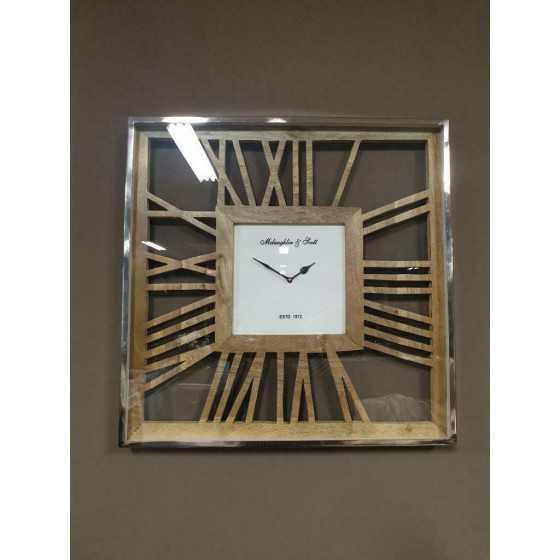 Wandklok zilver vierkant hout 61x61 cm