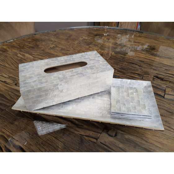 Schelpen set 3-delig wit parelmoer