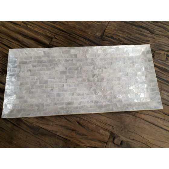 Schelpen kaarsenplateau wit parelmoer